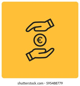 Save money vector icon, euro coin symbol. Modern, simple flat vector illustration for web site or mobile app