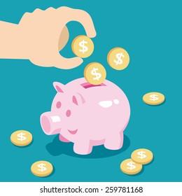 Save money. Vector Illustration.