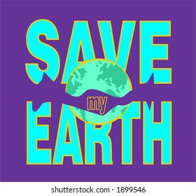 Save my earth, illustration clip-art type