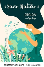 Save Nature. Earth Day. Vector template for card, poster, banner, flyer Design element