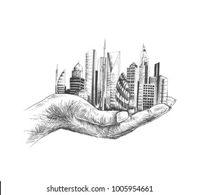 Save nature human hand holding city against white background, Ecology and Earth day concept.