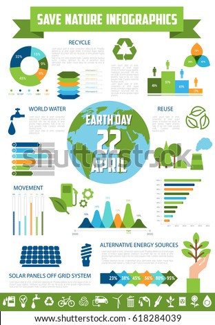 Save Nature Infographic Template Earth Day Stock Vector