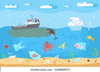 Save the ocean concept. Color vector illustration of sea pollution and global warming at blue sky background