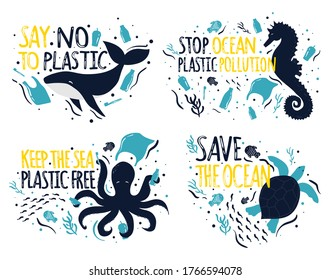 Save the Ocean. Ecology stickers collection, lettering.Say No to plastic, Stop Ocean Pollution,Plastic Free sea. Sea animals - Whale, Octopus, Sea horse.  Plastic waste ocean, no to single use plastic