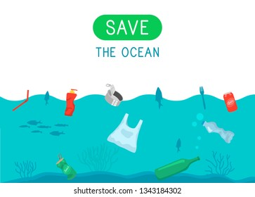 Save the ocean. Garbage and waste in the ocean water. Reduce reuse recycle. Vector