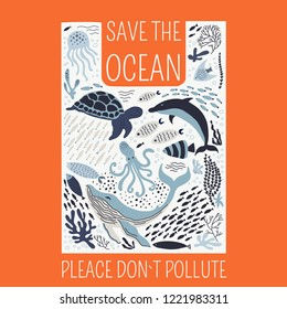 Save the ocean please dont't pollute poster. Set with hand drawn sea life elements.