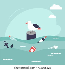 Save oceans concept. Illustration with cute seagull