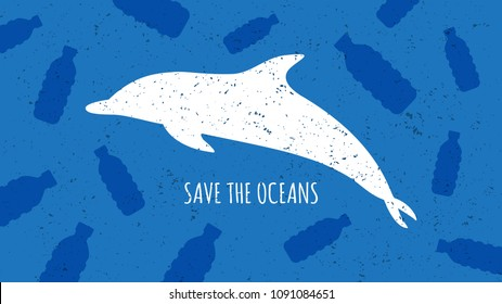 Save the oceans vector illustration. Plastic garbage (bottles) and dolphin silhouette in the ocean graphic design. Water waste problem creative concept.