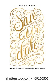 Save Our Date Invitation Template with Hand Drawn Texts