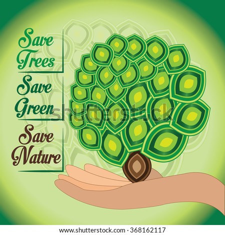 Save Our Nature Green World Green Ecology Stock Vector Royalty Free