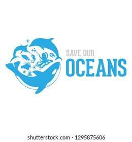 Save our ocean style design logo vector illustration. Logo design
