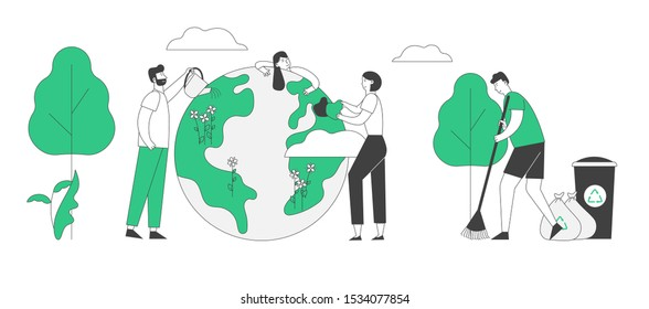 Save Our Planet Concept. People Prepare for Day of Earth. Male and Female Characters Care of Plants, Sweeping Ground, Cleaning Trash to Recycling Litter Bins. Flat Vector Illustration, Line Art