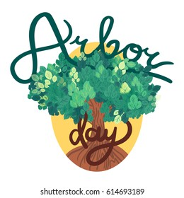 Save Our Planet Concept With shovel, bucket and hand. Arbor Day Greeting for sticker, banner and flyer. Vector