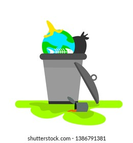 Save our planet. Ecological problem. Trash and other garbage. Thrown out and used planet.