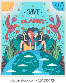 Save our planet. Girl and boy sitting on Earth offering flowers to birds, surrounded by plants, Sun and Moon. Conservation of nature, ecology concept. Vector illustration.