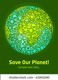Save our planet green eco template poster with earth