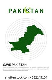 Save Pakistan Typography. Pray for Pakistan earthquake poster template. Earthquake Crisis Concept Vector illustration
