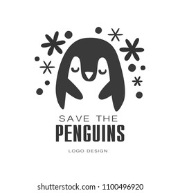 Save the penguins logo design, protection of wild animal black and white sign vector Illustrations on a white background