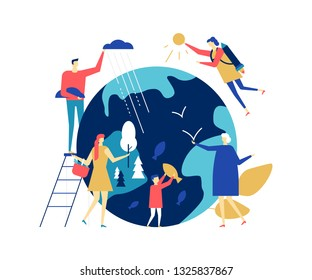 Save the planet - colorful flat design style illustration on white background. A composition with male, female characters taking care of the Earth, placing trees, fish on the globe. Ecology concept