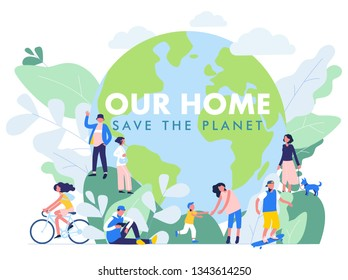 Save the Planet concept with modern multicultural society. Group of different people in community standing together in front of world. Day of the Earth. Environment protection and ecology.