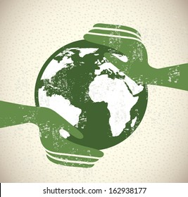 save the planet design over pattern background vector illustration