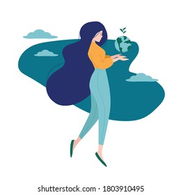 Save the planet. Earth Day. Beautiful girl is holding globe with sprouting plant in her hands and floating in the air. Environmental protection. Ecology concept. Isolated vector illustration