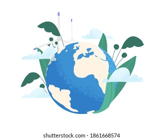Save the planet ecology concept. Earth care and environmental protection. Eco-friendly planting and using renewable energy. Colorful flat textured vector illustration isolated on white background