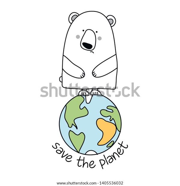 Vector De Stock Libre De Regalías Sobre Save Planet Funny