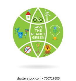 Save the planet green. Eco friendly concept. Save the world kids poster. Vector. Earth day.