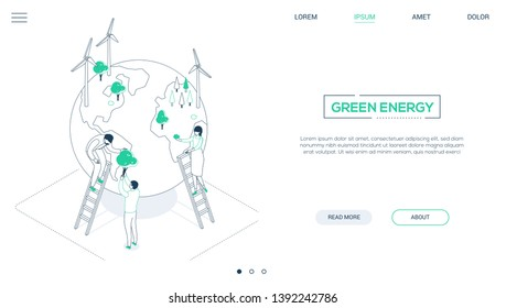 Save the planet - line design style isometric web banner with copy space for text. Website header with male, female characters placing trees on a globe with wind power generators. Ecology concept