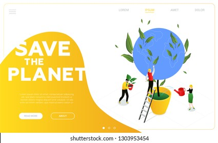 Save the planet - modern colorful isometric vector web banner with copy space for text. Website header with male, female characters taking care of the Earth, watering the globe. Ecology concept