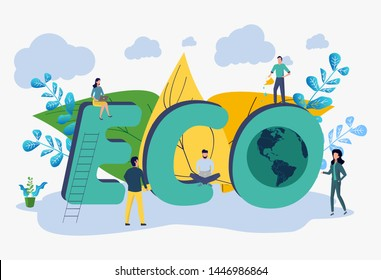 Save the planet from pollution, save the planet, small plant process, green energy, Earth Day concept. Colorful Vector Illustration