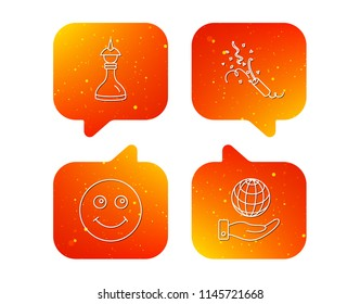 Save planet, slapstick and strategy icons. Smile linear sign. Orange Speech bubbles with icons set. Soft color gradient chat symbols. Vector
