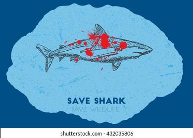 Save shark save wildlife. Gun shot with blood over shark.