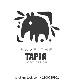 Save the tapir logo design, protection of wild animal black and white sign vector Illustrations on a white background