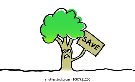 Save tree illustration