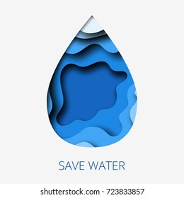 Save water 3d abstract paper cut illustration of water drop. Vector colorful template in carving art style.