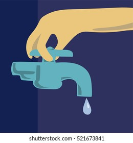 Save Water By Turning Off Faucet To Stop Water Dripping