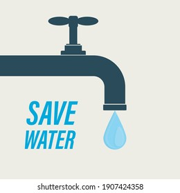 Save water, concept banner. Water tap and large drop. The problem of ecology and irreplaceable natural resources of planet. Flat vector illustration