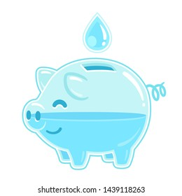 Save water concept. Cartoon transparent piggy bank filled with drop of water. Vector clip art illustration isolated on white background.