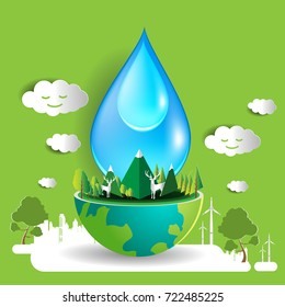 Save water concept design vector and eco friendly global environment information in paper art style illustration eps 10