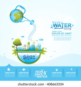 Save water concept Ecology vector