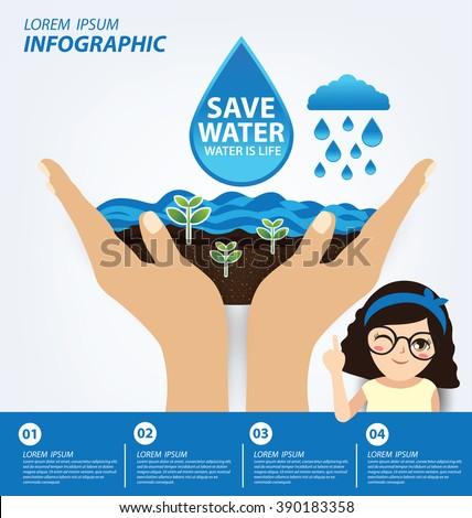 Save Water Concept Infographic Template Vector Image Vectorielle De