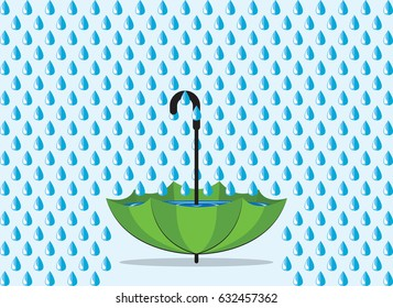 Save water concept. Rainwater Harvesting to green umbrella.