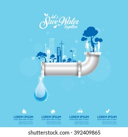 Save Water Concept Recycled Water