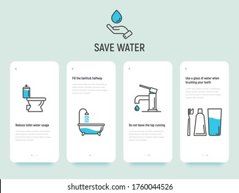 Save water concept: reduce toilet water, fill bathtub halfway, do not leave running tap and brushing teeth economy usage. Thin line vector illustration, template with copy space.