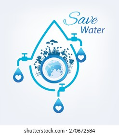 Save water concept. Vector illustration.