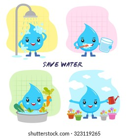 save water concept, save the world, cartoon water drops character