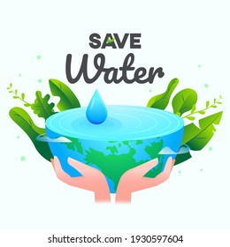 save water graphic design vector or background greeting card or poster for campaign