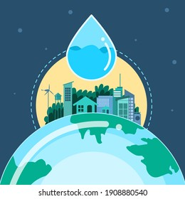 Save Water to Help the World Vector Concept.